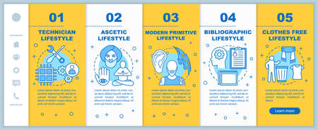 Lifestyle types onboarding mobile web pages vector template. Ascetic. Responsive smartphone website interface idea with linear illustrations. Webpage walkthrough step screens. Color concept Illusztráció