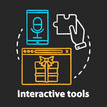Interactive tool chalk concept icon. Customer engaging media content, bonuses. Marketing tool idea. Engagement increasing. Vector isolated chalkboard illustration Ilustração Vetorial