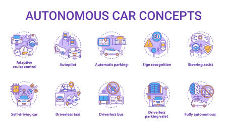 Autonomous car concept icons set. Car robotic features. Driverless vehicles. Electronic technology in safe driving idea thin line illustrations. Vector isolated outline drawings. Editable stroke
