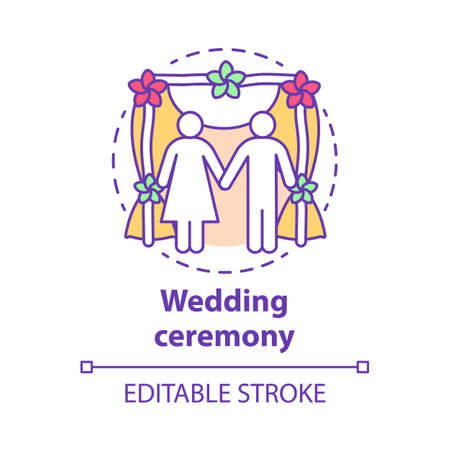 Wedding ceremony concept icon. Engagement, marriage celebration event idea thin line illustration. Bride and groom. Bridal party. Newlyweds, just married. Vector isolated drawing. Editable stroke