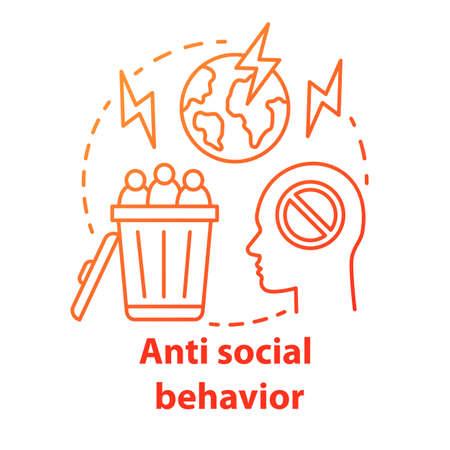 Icono del concepto de comportamiento anti social. Comportamiento antisocial. Crímenes contra la humanidad idea ilustración de línea fina. Violencia social, abuso, acoso. Dibujo de contorno aislado del vector