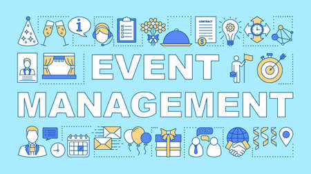 Event management word concepts banner. Scheduling and organization. Event agency. Presentation, website. Isolated lettering typography idea with linear icons. Vector outline illustration Illusztráció