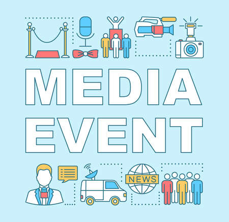 Media event word concepts banner. Video shooting. Event agency. Mass media. Breaking news. Presentation, website. Isolated lettering typography idea with linear icons. Vector outline illustration Illusztráció