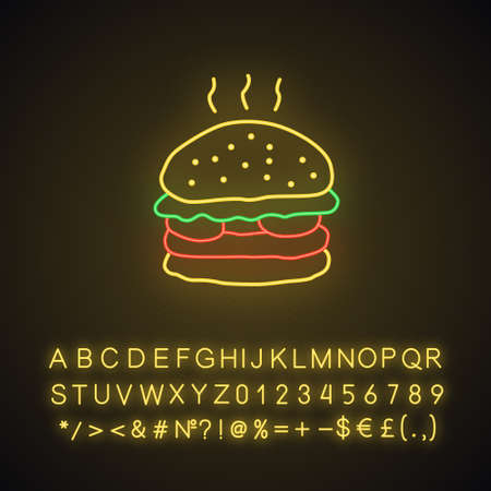 Delicious burger neon light icon. Glowing sign with alphabet, numbers and symbols. Traditional hamburger, junk food vector isolated illustration. Unhealthy nutrition, harmful food, takeaway service