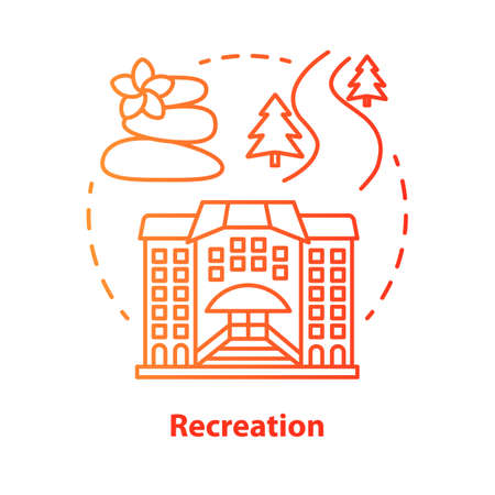 Recreation red concept icon. Urban and outdoors recreation services idea thin line illustration. Active rest. Leisure industry. Tourism management. Vector isolated outline drawing. Editable stroke