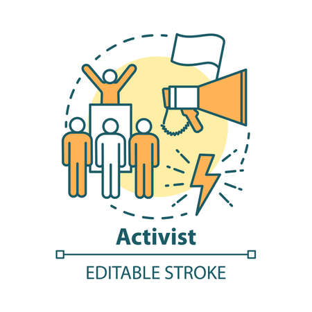Activist concept icon. Campaigning for political change idea thin line illustration. Participate in march protesting. Social movement, activism. Vector isolated outline drawing. Editable stroke  イラスト・ベクター素材