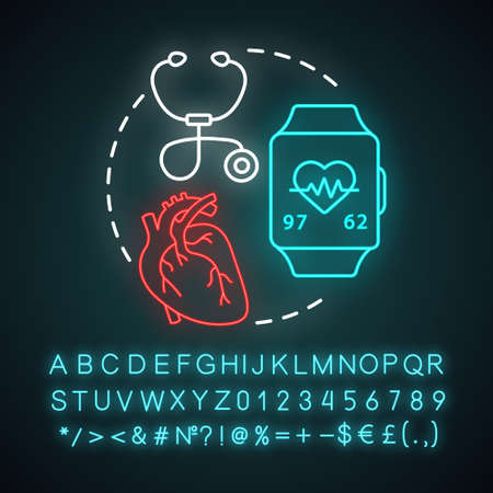 Heart rate monitoring neon light concept icon. Cardiological health control idea. Stethoscope, equipment for pulse check. Glowing sign with alphabet, numbers and symbols. Vector isolated illustration