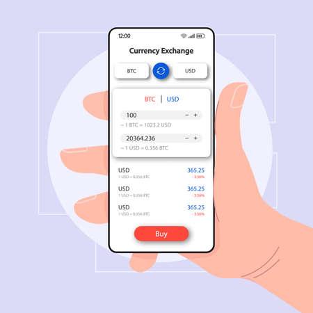 Modello di vettore dell'interfaccia smartphone online del gestore di valuta. Layout del design bianco della pagina dell'app mobile. Schermata di cambio BTC. Interfaccia utente piatta per l'applicazione. Mano che tiene il telefono con criptovaluta sul display
