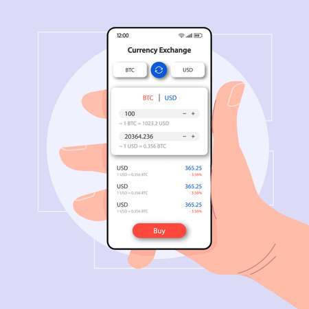 Currency manager online smartphone interface vector template. Mobile app page white design layout. BTC exchange screen. Flat UI for application. Hand holding phone with cryptocurrency on display