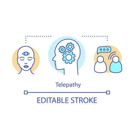 Telepathy concept icon. Mind reading, thought transference idea thin line illustration. Psychic abilities. Third eye and head with gears, communication vector isolated outline drawing. Editable stroke Фото со стока - 129671077