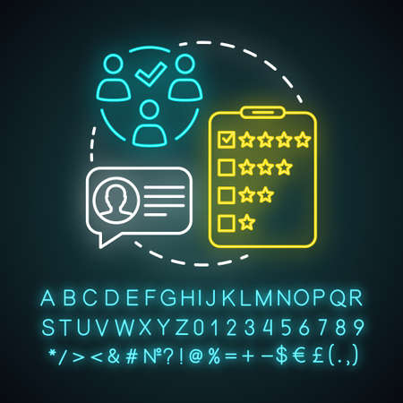 Feedback collection neon light concept icon. Customer service experience idea. Client satisfaction survey, review. Quality evaluation. Glowing alphabet, numbers and symbols. Vector illustration Archivio Fotografico - 129671079