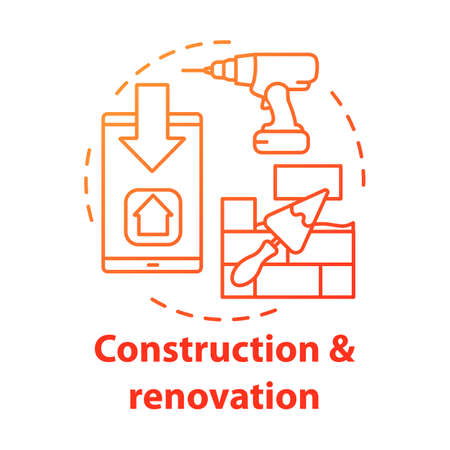 Construction and renovation service concept icon. Residential repair business idea thin line illustration. Electric drill, smartphone and putty knife with bricks vector isolated outline drawing Иллюстрация