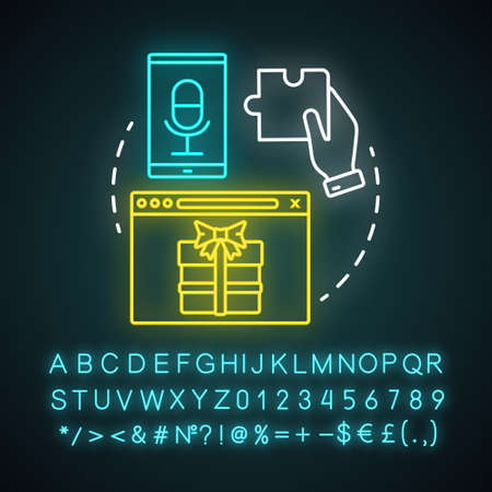 Interactive tool neon light concept icon. Customer engaging media content, bonuses. Marketing tool idea. Glowing sign with alphabet, numbers. Engagement increasing. Vector isolated illustration