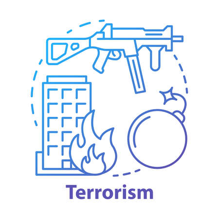 Terrorism concept icon. Gun violence idea thin line illustration. War & terror. Terrorist military attack, explosion. Extremism. Rifle and bomb. Vector isolated outline drawing Ilustracja