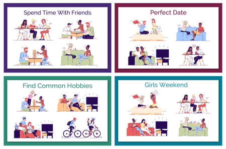 Friends leisure flat vector concept illustrations pack. Perfect date. romantic couples having fun. Boys, roommates finding common hobbies isolated cartoon design elements set on white background Ilustração