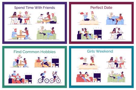 Pacchetto di illustrazioni di concetto di vettore piatto per il tempo libero degli amici. Appuntamento perfetto. coppie romantiche che si divertono. Ragazzi, coinquilini che trovano hobby comuni isolati elementi di design dei cartoni animati impostati su sfondo bianco