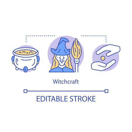 Witchcraft concept icon. Alchemy and wizardry idea thin line illustration. Cauldron with brewing magic potion and evil witch with broomstick vector isolated outline drawing. Editable stroke