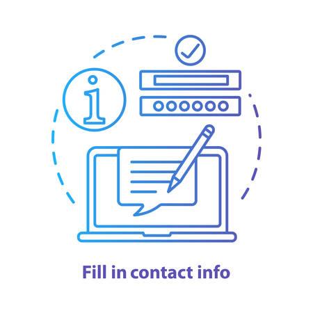 Complete el icono de concepto azul de información de contacto. Contáctenos idea ilustración de línea fina. Autocompletar información. Llenado de formularios en línea. Servicio de atención al cliente. Dibujo de contorno aislado del vector. Trazo editable