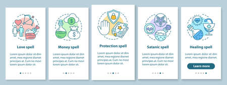 Spells onboarding mobile app page screen with linear concepts. Love, healing, satanic magic walkthrough steps graphic instructions. Witchcraft UX, UI, GUI vector template with illustrations Illusztráció