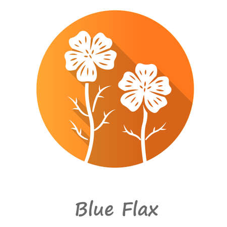 Blue flax plant orange flat design long shadow glyph icon. Linen wild flower with name inscription. Spring blossom. Blooming linum wildflower inflorescence. Vector silhouette illustration