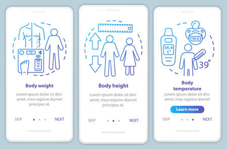 Body measurement onboarding mobile app page screen vector template. Walkthrough website steps with linear illustrations. Body weight, height and temperature. UX, UI, GUI smartphone interface concept Illusztráció
