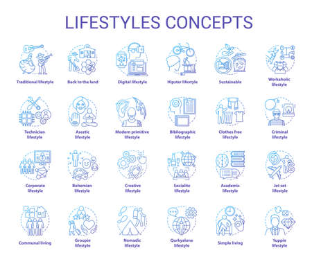 Lifestyles blue concepts icons set. Living types idea thin line illustrations. Technician, hipster, clothes free, sustainable, ascetic lifestyle. Vector isolated outline drawings. Editable stroke
