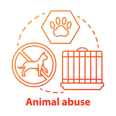 Icône de concept de maltraitance et de préjudice envers les animaux. Zoosadisme. Négligence animale, cruauté et maltraitance idée illustration fine ligne. Protection des droits des animaux, bien-être. Dessin de contour isolé de vecteur