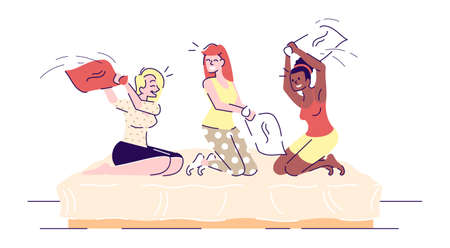 Girls pillow fighting flat vector illustrations. Female friends sitting on bed having pajama party. Sisters, siblings playing in bedroom cartoon characters with outline elements on white background Çizim