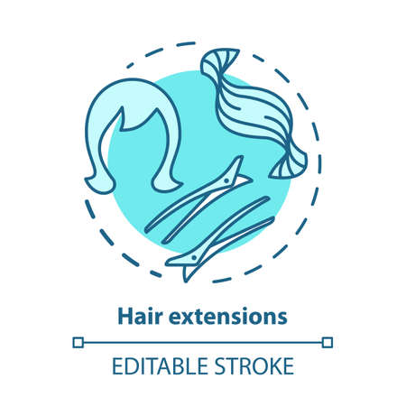 Hair extensions blue concept icon. Clip in hair tapes, wig and accessories. Hairstyling idea thin line illustration. Hairdresser, hairstylist parlor. Vector isolated outline drawing. Editable stroke