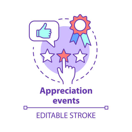 Appreciation events concept icon. Customer experience idea thin line illustration. Feedback collecting. Clients reviews. Service awards, rating. Vector isolated outline drawing. Editable stroke Stock Vector - 129672056