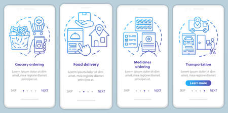 Services ordering onboarding mobile app page screen vector template. Commercial transportation industry walkthrough website steps with linear illustrations. UX, UI, GUI smartphone interface concept Illusztráció
