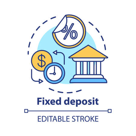 Savings concept icon. Fixed deposit idea thin line illustration. Creating investment account. Getting bigger profits, interest until maturity date. Vector isolated outline drawing. Editable stroke  イラスト・ベクター素材