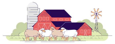 Illustration de vecteur plat de ferme de moutons. Élevage, concept de dessin animé d'élevage. Moutons paissant sur les pâturages de la basse-cour. Terres agricoles du village avec basse-cour, ranch rural. Bâtiments de granges rouges en bois Vecteurs