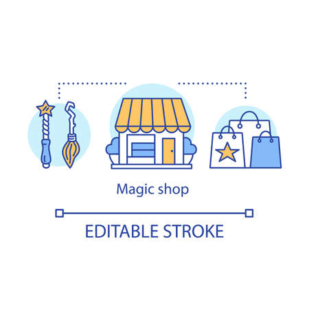 Magic shop concept icon. Witchcraft accessories sale idea thin line illustration. Mystic souvenirs. Wizard wand, broomstick, store building and bags vector isolated outline drawing. Editable stroke
