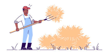 Farmer with pitchfork flat vector character. Autumn harvest isolated concept with outline. African american farm worker making haystacks. Agricultural work. Hay harvesting  cartoon illustration