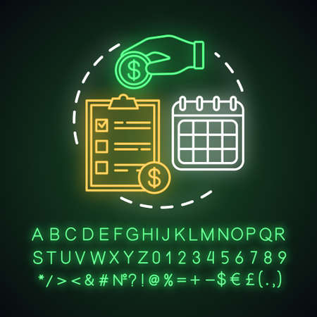 Recurring deposit neon light concept icon. Savings idea. Creating investment account. Regular payments, charges.Glowing sign with alphabet, numbers and symbols. Vector isolated illustration