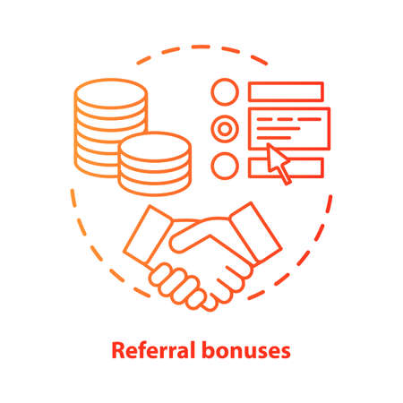 Casino referral bonuses concept icon. Reward program idea thin line illustration. Referral awards, incentives and benefits. Redeem points.  Vector isolated outline drawing Archivio Fotografico - 129672341