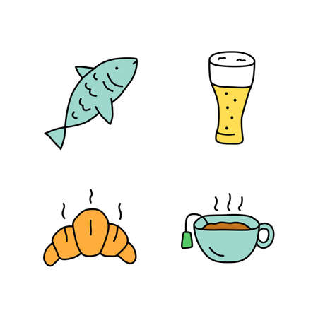 Drinks with snacks doodle color icons set. Fish, beer glass, croissant and hot tea hand drawn isolated vector illustrations. Harmful and healthy beverages with appetizers. Delicious food, tasty meal