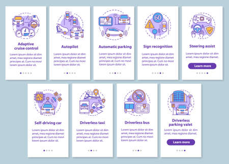 Self-driving car onboarding mobile app page screen set with linear concepts. Driverless car features, industry walkthrough steps graphic instructions. UX, UI, GUI vector template with illustrations