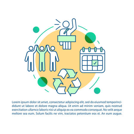 Eco meeting article page vector template. Sustainable event. Earth day. Environment protection. Brochure, magazine, booklet element with linear icons and text. Print design. Concept illustrations Фото со стока - 129672410
