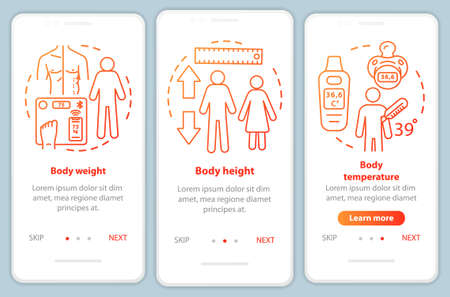 Body measurement onboarding mobile app page screen vector template. Walkthrough website steps with linear illustrations. Weight, height and temperature. UX, UI, GUI smartphone interface concept Illusztráció