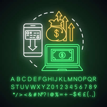 Money withdrawal neon light concept icon. Savings idea. Claiming profits from investment. Getting interest from deposit. Glowing sign with alphabet, numbers and symbols. Vector isolated illustration