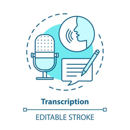 Transcription blue concept icon. Audio files conversion into text format idea thin line illustration. Representation of language in written form. Vector isolated outline drawing. Editable stroke Иллюстрация