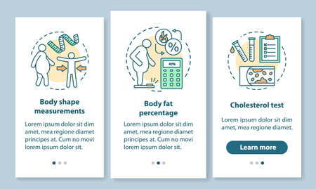 Body health onboarding mobile app page screen with linear concepts. Cholesterol test. Body shape measurements. Three walkthrough steps graphic instructions. UX, UI, GUI vector template, illustrations