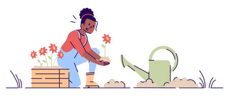 Girl gardening flat vector illustration. African american woman planting flowers with watering can cartoon character. Female farmer cultivating. Plant nursery works isolated concept with outline