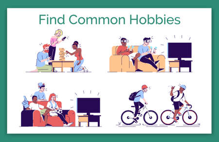 Finding common hobbies flat vector concept illustration. Friends spending time together,   videogames, watching TV, sports games isolated cartoon design elements set on white background