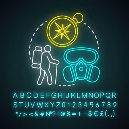 Survivor neon light concept icon. Remaining alive idea. Travelling in extreme conditions. Adventurous trekking, traveler. Glowing sign with alphabet, numbers and symbols. Vector isolated illustration Stock Illustratie