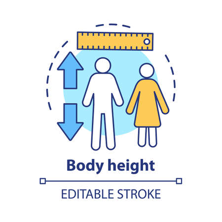 Body height check concept icon. Monitoring body growth with measuring tools idea thin line illustration. Controlling male, female height. Vector isolated outline drawing. Editable stroke