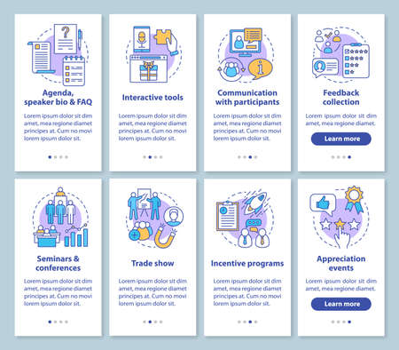 Corporate events planning service onboarding mobile app page screen with linear concepts. Company event management walkthrough graphic instructions. UX, UI, GUI vector templates set with illustrations