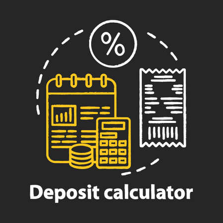 Deposit calculator chalk concept icon. Savings idea. Accounting tool. Budgeting and financing. Counting profits, interest percentage. Financial services. Vector isolated chalkboard illustration